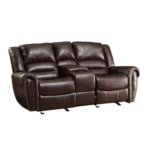 reclining loveseat with center console homesullivan merida nailhead accent bonded leather double