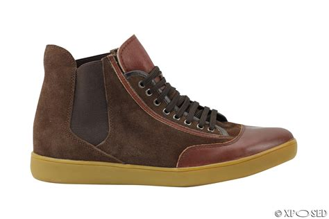 mens black brown suede leather high top designer style
