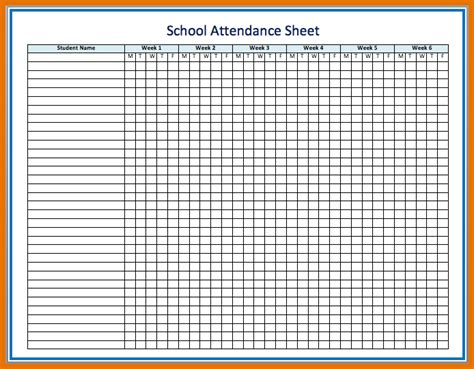 6 weeks basis school attendance and absence sheet template