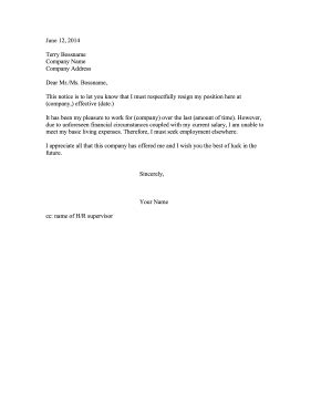 Cancellation Letter Due To Unforeseen Circumstances resignation letter low salary