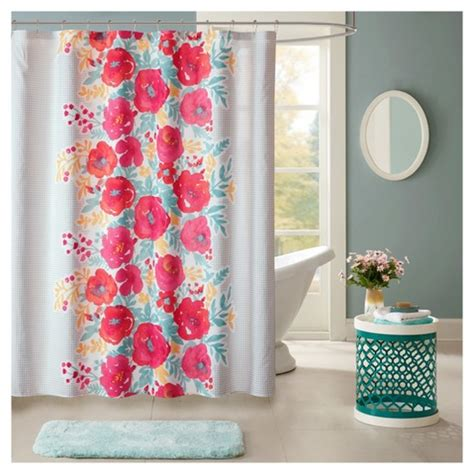 coral shower curtain target suri floral microfiber printed shower curtain 72 quot x72