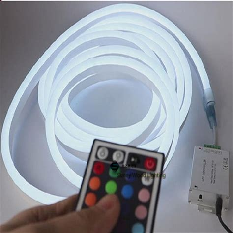 Lu Led Neon Rgb With Remote 1 10m mini rgb neon flex 72pcs 5050smd m color changing led neon with remote controler 220
