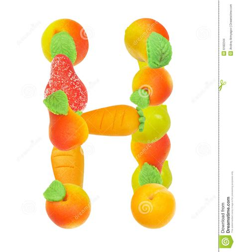 fruit with h alphabet from fruit the letter h stock illustration