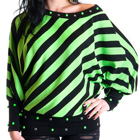 Sweater Hoodie Rock fluo green sweater rock hoodie studded top fleece stripes