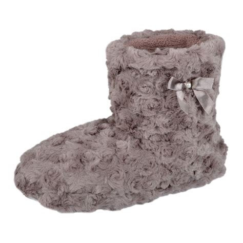 curly slippers curly faux fur bootie slippers with bow and peral