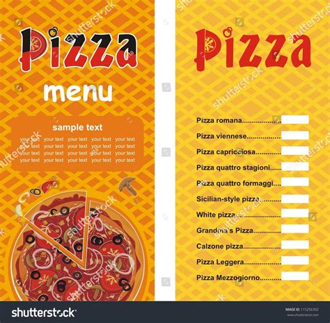 pizza menu design template pizza menu template vector illustration stock vector
