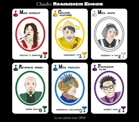 clue cards template with 10 suspects rammstein cluedo suspects by tanmei on deviantart