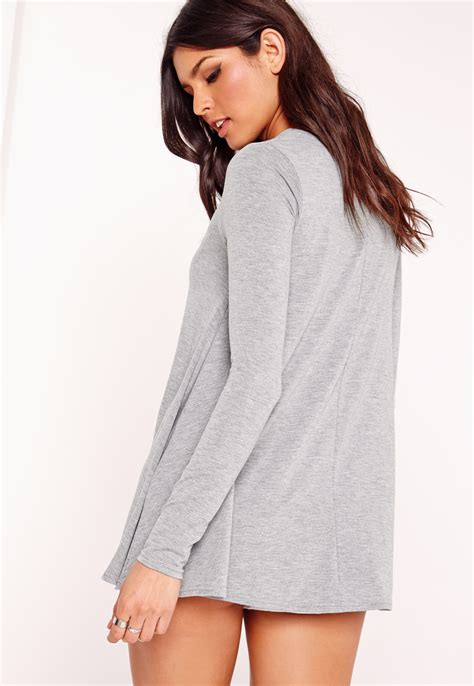 grey swing top missguided long sleeve swing top grey in gray lyst
