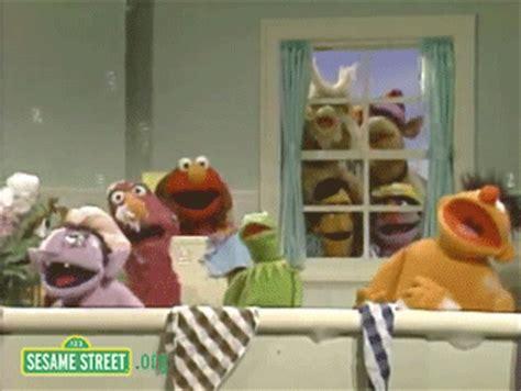 sesame street bathroom singing animated gif