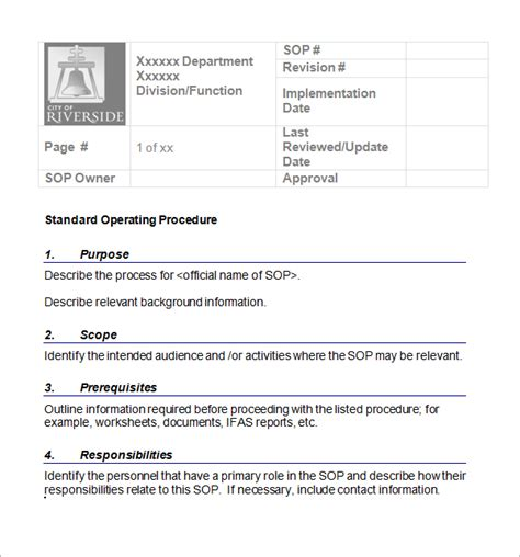 best standard operating procedure template sop template word best word templates