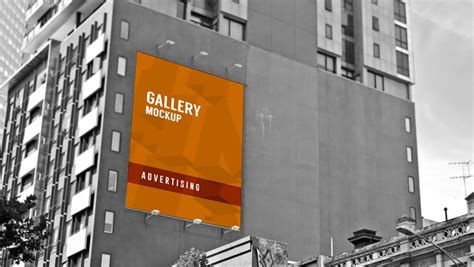 outdoor large poster mockup  building advertising wall