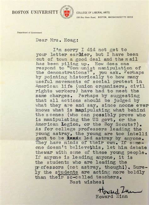 Acceptance Letter Howard Letter To Grace Hoag June 3 1968 Howardzinn Org
