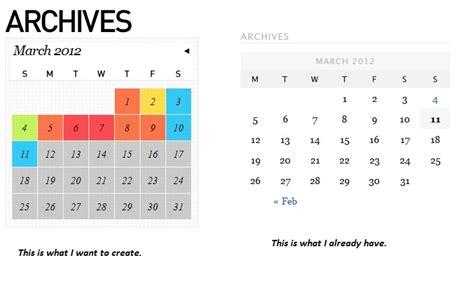 calendar design in css php creating colorful calendar for wordpress blog