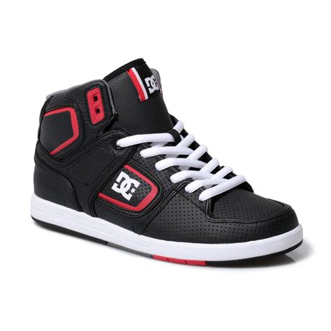 hi top shoes for dc shoes black factory lite mens high top leather trainers