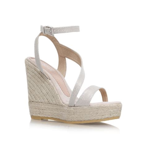 carvela kurt geiger gold klassy high wedge heel strappy