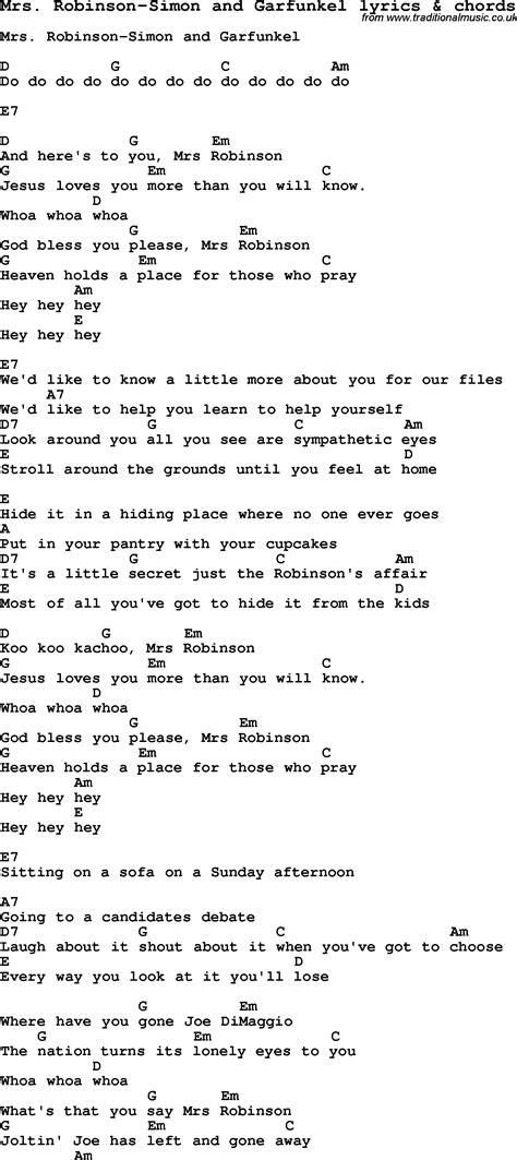 guitar tutorial mrs robinson love song lyrics for mrs robinson simon and garfunkel