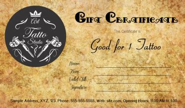 antique style tattoo gift certificate template gift