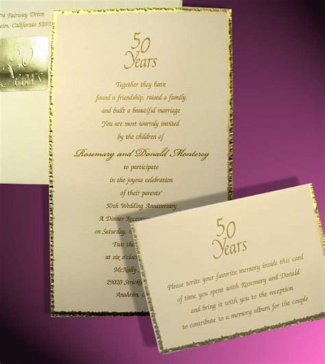 Gold Foil 50th Anniversary Invitation with Deckled Edge