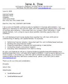 Cover Letter Internship Exles by Internship Cover Letter