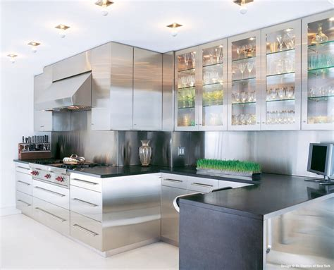 Modern Glass Kitchen Cabinets Metal Kitchen Cabinets For Your Kitchen Storage Solution Traba Homes