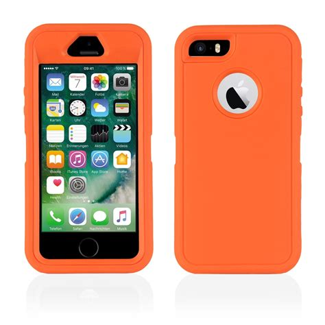 d iphone iphone se 5s 5 colourful heavy duty builders workman cover orange