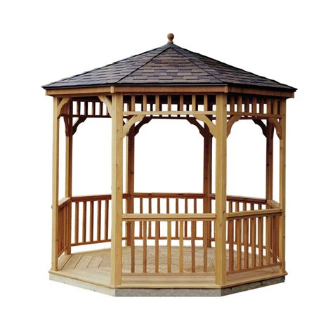 shop heartland cedar permanent gazebo exterior 9 6