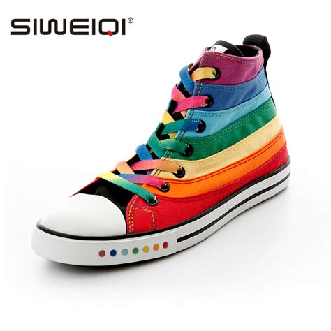 siweiqi fashion canvas shoes with striped rainbow