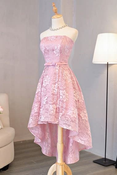 strapless high  pink lace homecoming dress