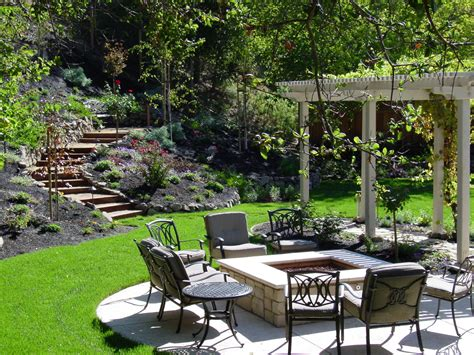 outdoor landscaping ideas proportions of patio to lawn to planting areas alder