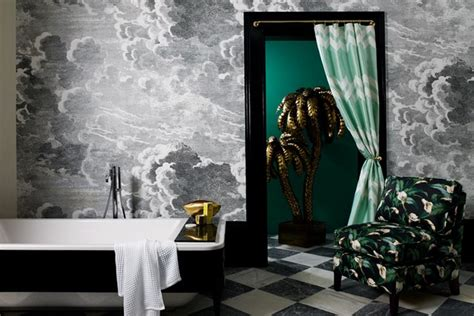 bathroom wall murals uk fornasetti cloud wall mural green accents bathroom