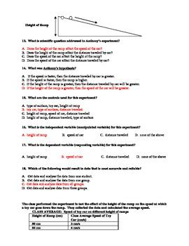 scientific method test and practice test with answer key