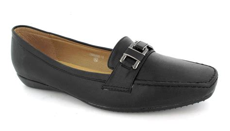 ladies black comfortable work shoes womens ladies black slip on loafer comfort black smart