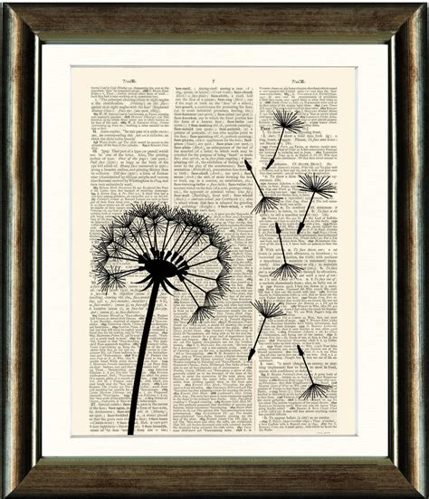 Old Antique Book Page Art Print Dandelion Seed Head Dictionary Page Wall Art Ebay Prints On Book Pages