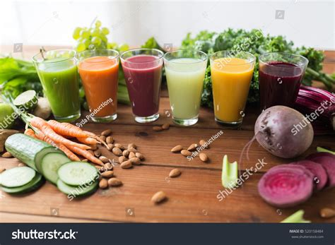 Fruit And Veggie Detox Drinks by Healthy Drinks Diet Detox Concept Stock Photo