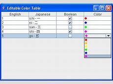 Table Editor: Editable Color Column : Table Renderer ... J2me Development