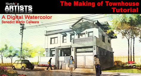 watercolor tutorial architecture the making of town house a digital watercolor tutorial