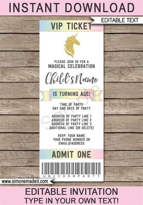 unicorn party ticket invitations template ticket
