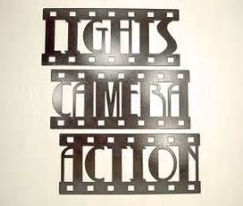 stupendous home theater wall decor plaques signs lights camera action metal wall art home decor movie