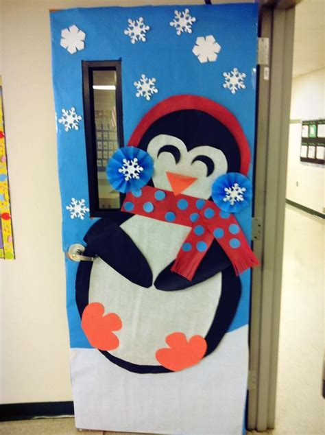 free classroom christams decoration ideas winter classroom door decoration winterdecoration january penguindecoration winter snow