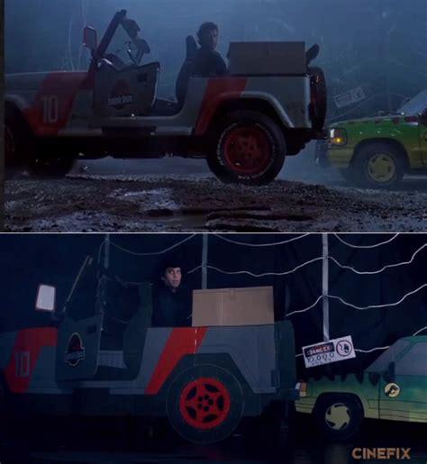 jurassic park car trex jurassic park t rex chase scene sweded shot for shot