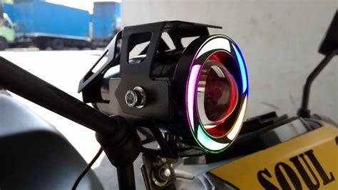 cara pasang lu sorot tembak led cree u7 transformers rainbow pelangi di motor motovlog
