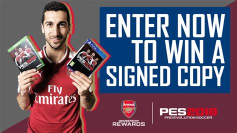 arsenal pes 2018 win a signed copy of pes 2018 membership news