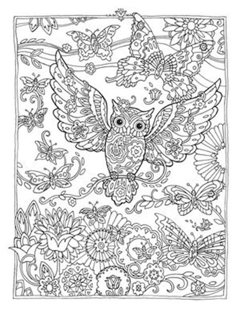 owl butterfly coloring page creative haven owls colouring book by marjorie sarnat