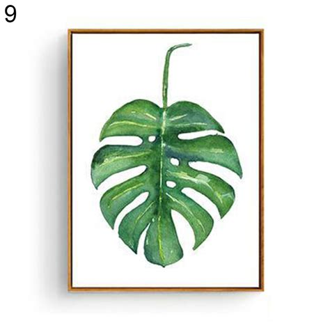 modern watercolor plant canvas painting palm leaf