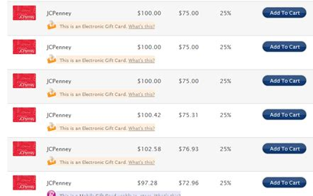 Can U Get Cashback From A Visa Gift Card - jc penney gift cards 25 off today and tomorrow only frequent miler