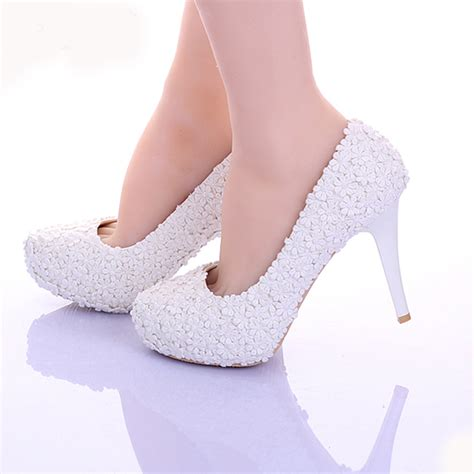 comfortable prom heels white lace flower formal dress shoes comfortable