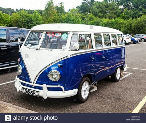 old blue volkswagen an old classic blue and white volkswagen kombi cer van