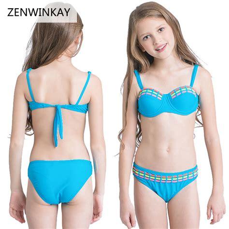 bikinis kids 2017 summer blue cute bathing suit child bikini beach wear