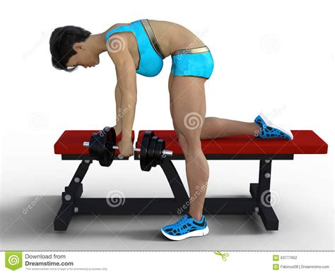 exercises using a bench woman lifting weights stock illustration image 63777952