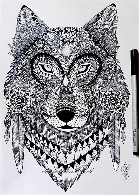 pattern drawing wolf zentangle wolf by itsalana on deviantart